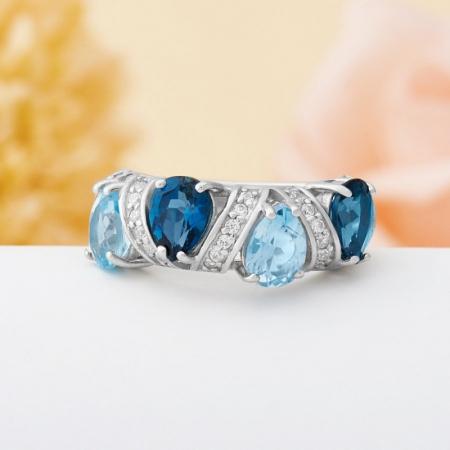 Кольцо топаз (голубой,лондон)  огранка (серебро 925 пр.) размер 18