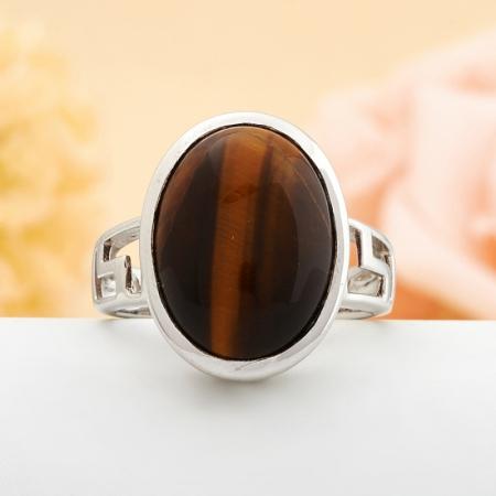 Кольцо тигровый глаз  (серебро 925 пр.)  размер 17