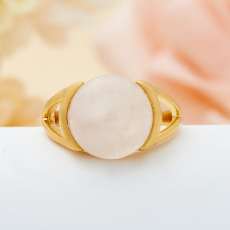Кольцо розовый кварц  (серебро 925 пр., позолота) размер 17Розовый кварц<br>Кольцо розовый кварц  (серебро 925 пр., позолота) размер 17<br><br>kit: None