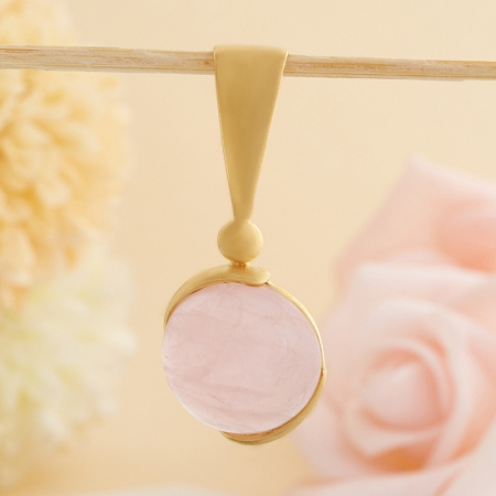 Кулон розовый кварц  (серебро 925 пр., позолота)