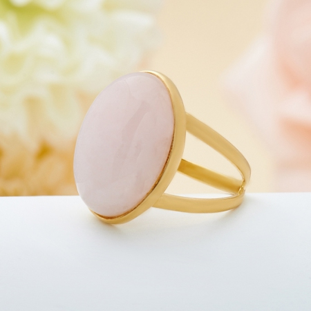 Кольцо розовый кварц  (серебро 925 пр., позолота) размер 17