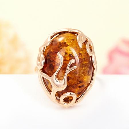 Кольцо янтарь (пресс.)  (серебро 925 пр., позолота) размер 18