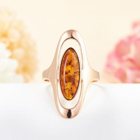 Кольцо янтарь (пресс.)  (серебро 925 пр., позолота) размер 20
