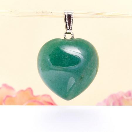 Кулон сердечко авантюрин зеленый  4 см