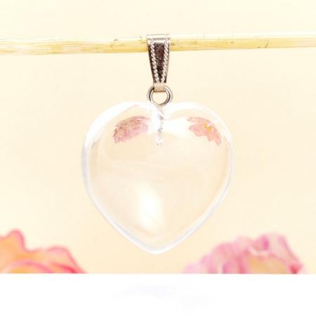 Кулон сердечко горный хрусталь прозрачный  4 см