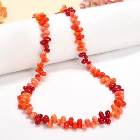 Бусы коралл розовый, красный, оранжевый  53 см