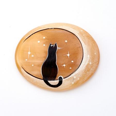 Магнит Лунный кот селенит  5 см