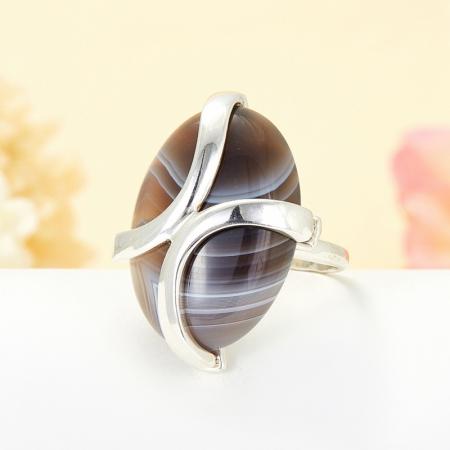 Кольцо агат серый  (серебро 925 пр.)  размер 16,5