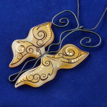 Кулон Бабочка ажурная золотая селенит  7,5 см