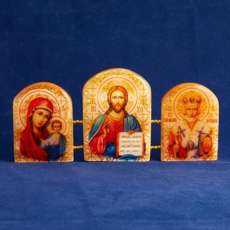 Изображение Триптих Господь Вседержитель селенит  155х70 мм