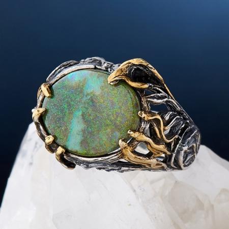 Кольцо опал  (серебро 925 пр., позолота, чернение) размер 18,5