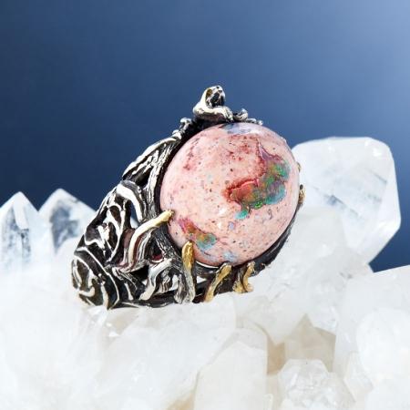 Кольцо опал  (серебро 925 пр., позолота, чернение) размер 17