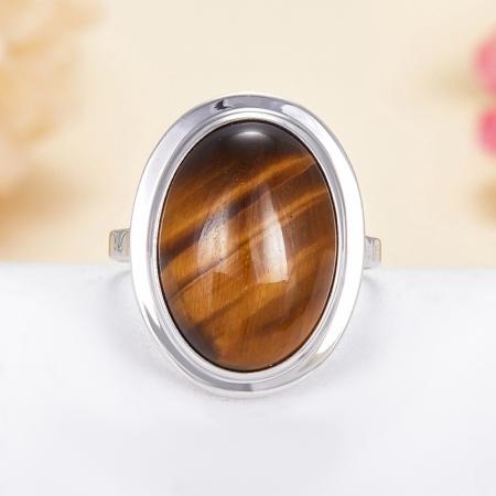 Кольцо тигровый глаз  (серебро 925 пр.)  размер 18,5
