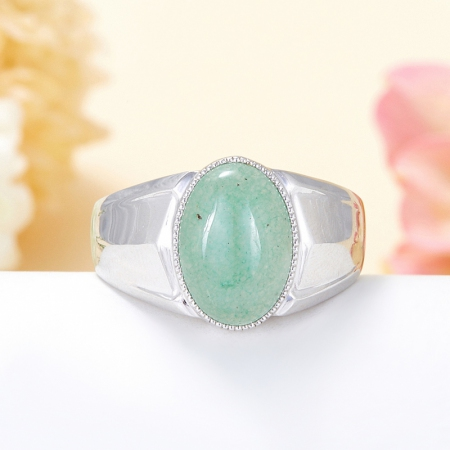 Кольцо авантюрин зеленый  (серебро 925 пр.) размер 22