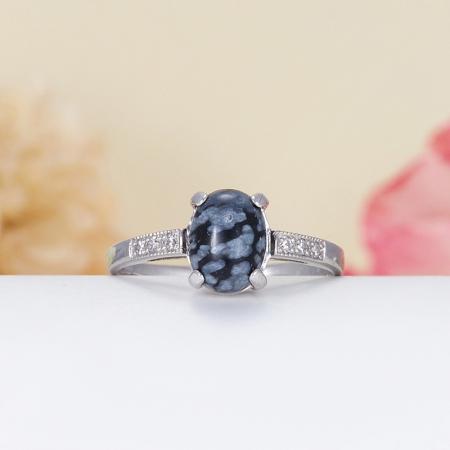 Кольцо обсидиан снежный  (серебро 925 пр.) размер 16,5