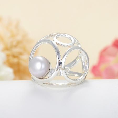 Кольцо жемчуг серый  (серебро 925 пр.)  размер 18,5