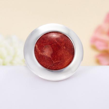 Кольцо коралл красный  (серебро 925 пр.)  размер 18