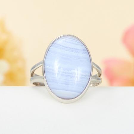 Кольцо агат голубой  (серебро 925 пр.) размер 18