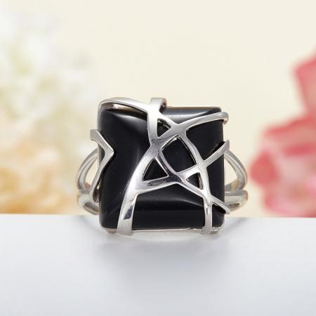 Кольцо агат черный  (серебро 925 пр.) размер 20