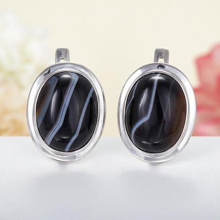 Серьги агат черный полосатый  (серебро 925 пр.)