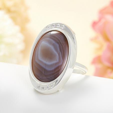 Кольцо агат серый  (серебро 925 пр.) размер 20