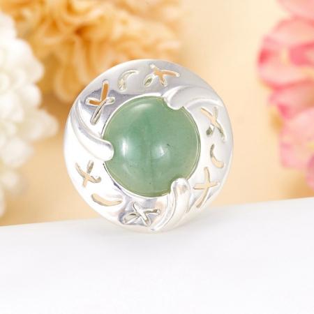 Кольцо авантюрин зеленый  (серебро 925 пр.)  размер 18