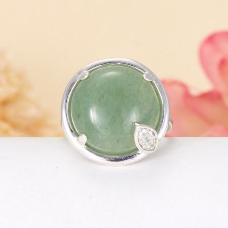 Кольцо авантюрин зеленый  (серебро 925 пр.)  размер 17