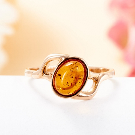 Кольцо янтарь  (серебро 925 пр., позолота) размер 16