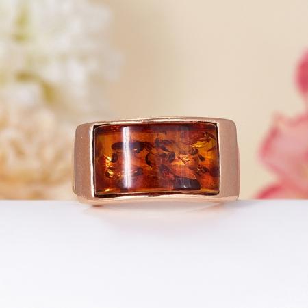 Кольцо янтарь (пресс)  (серебро 925 пр., позолота)  размер 19