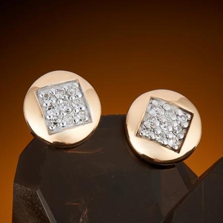 Серьги (пуссеты) бриллиант  огранка (золото 585 пр.)