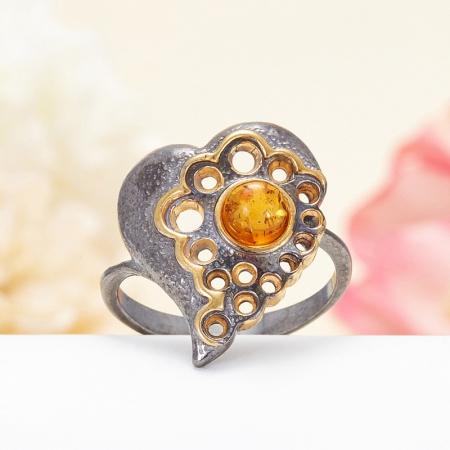 Кольцо янтарь  (серебро 925 пр., позолота, чернение) размер 16