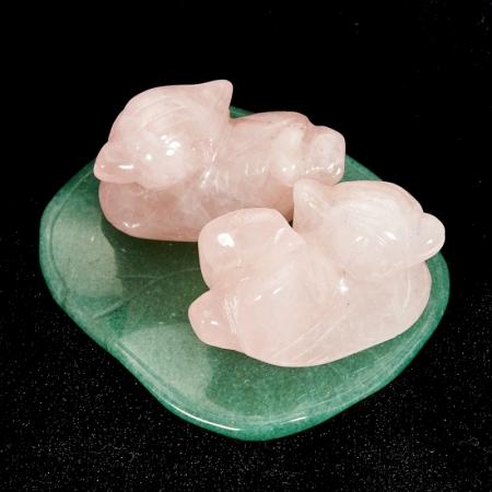 Уточки мандаринки розовый кварц, авантюрин 3,5 см