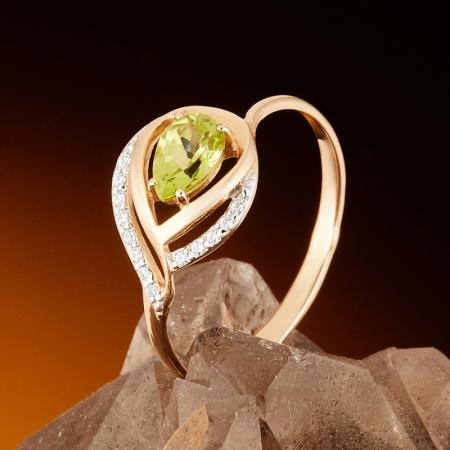 Кольцо хризолит  огранка (золото 585 пр.) размер 18,5