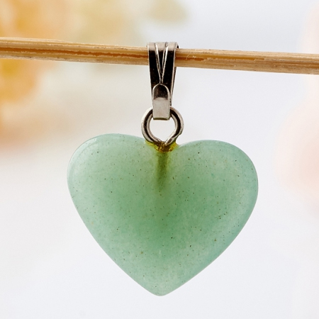 Кулон сердечко авантюрин зеленый  2 см