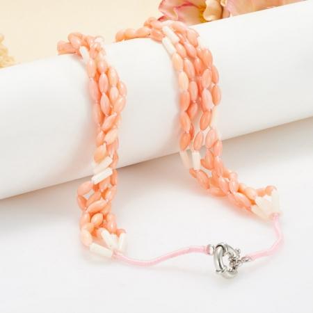 Бусы коралл белый, розовый  52 см