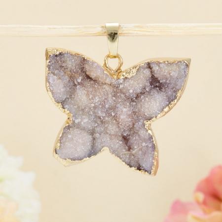 Кулон-щетка бабочка кварц  3-4 см