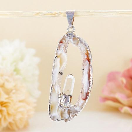 Кулон-срез агат и кристалл горный хрусталь  4-5 см