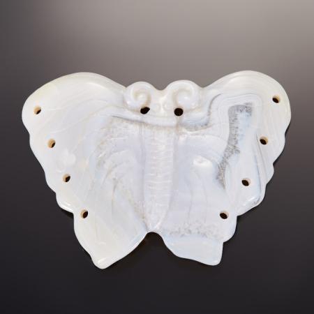 Кулон бабочка агат серый  7 см