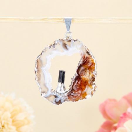 Кулон срез агат и кристалл турмалин  4,5 см