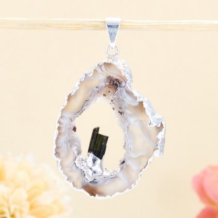 Кулон срез агат и кристалл турмалин  5 см