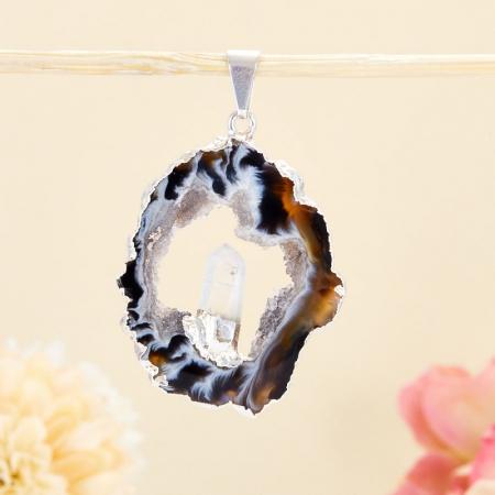Кулон срез агат и кристалл горный хрусталь  4,5 см