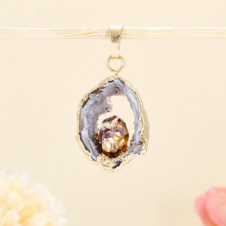 Кулон срез агат и кристалл аметист  3,5 см
