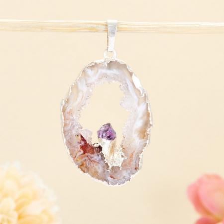 Кулон срез агат и кристалл аметист  4 см