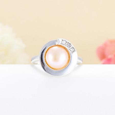 Кольцо жемчуг персиковый  (серебро 925 пр.)  размер 17