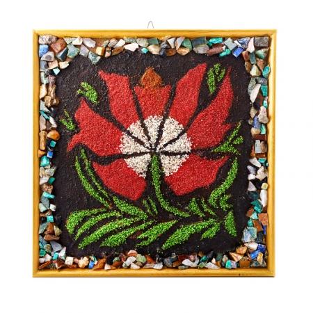 Картина из натуральных камней Магический цветок 34х35 см