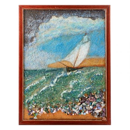 Картина из натуральных камней Штормовое море 32х42 см