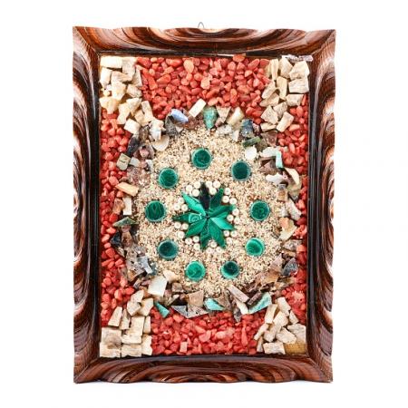 Картина из натуральных камней Панно из малахита и жемчуга 25х34 см