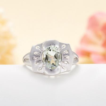 Кольцо празиолит  огранка (серебро 925 пр.) размер 17,5