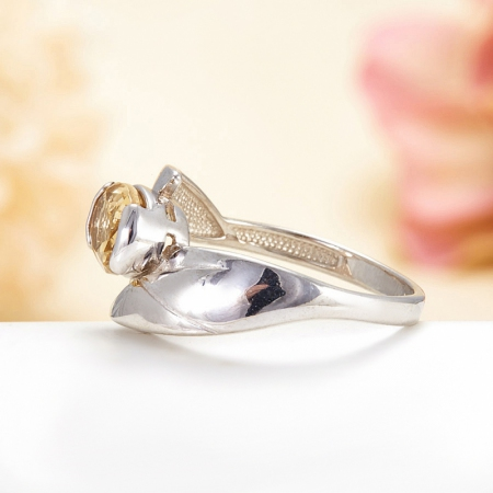 Кольцо цитрин  огранка (серебро 925 пр.) размер 17,5