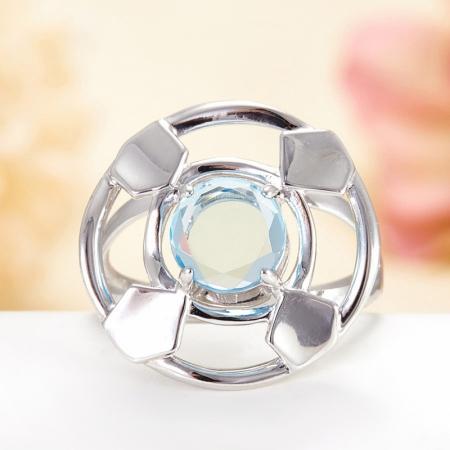 Кольцо топаз голубой  огранка (серебро 925 пр.) размер 17Топаз<br>Кольцо топаз голубой  огранка (серебро 925 пр.) размер 17<br><br>kit: None